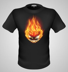 T shirts black fire print man 14 vector
