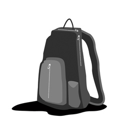 A Black Backpack Standing on White Background vector image vector image