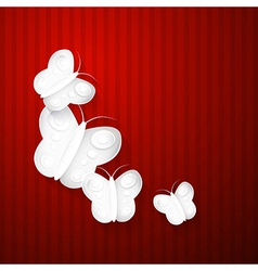 Abstract Paper Butterflies on Red Background vector image