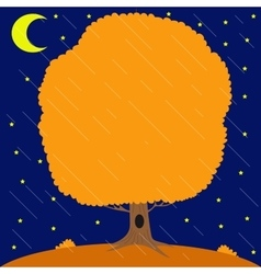 Autumn tree under the rain in the night star sky vector image