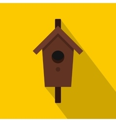 Birdhouse or nesting box icon flat style vector