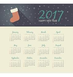 Calendar 2017 year with christmas sock vector