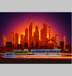 car traces in modern city with night illumination vector image