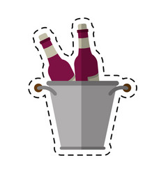 cartoon glass bottles wine bucket vector image