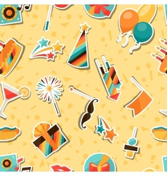 Celebration seamless pattern with party sticker vector