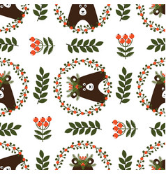 christmas seamless pattern with cute bear vector image vector image