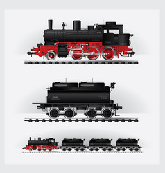 classic cargo train on a rail road vector image vector image