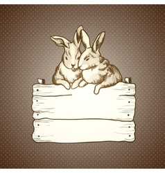 couple of easter rabbits on brown dots background vector image vector image