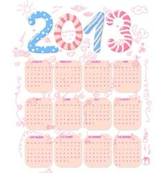 cute 2013 calendar vector image vector image