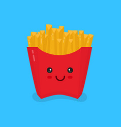 cute smiling happy french fries vector image vector image