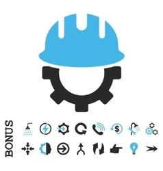 Development hardhat flat icon with bonus vector