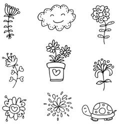 Doodle set spring flower clouds vector