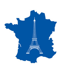 eiffel tower and map on white vector image vector image