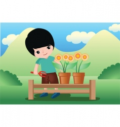 flower kid vector image