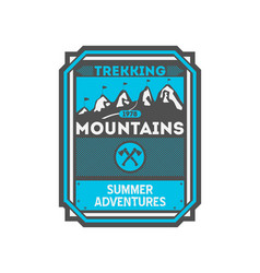 Mountains trekking vintage isolated badge vector