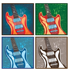 old poster with a guitar vector image vector image