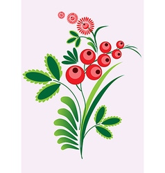 Rowan berries branch with berrie and leaves on vector image vector image