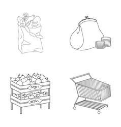 Sausages fruit cart supermarket set collection vector