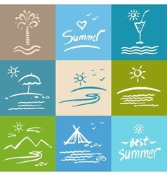 Set brush painted vacation travel vector