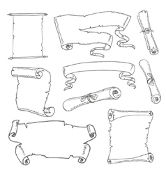 Set of vintage scrolls Hand drawn vector image
