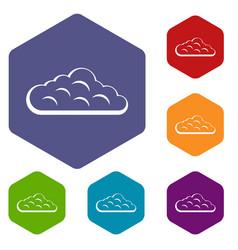 Sky cloud icons set hexagon vector