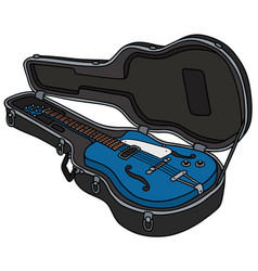 The retro blue semiaccoustic guitar in a case vector