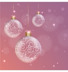 Transparent glass Christmas Ball with white swirls vector image