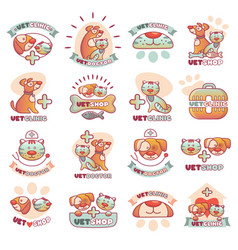 veterinary pets clinic animal badges logotypes vector image