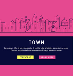website banner and landing page town vector image vector image