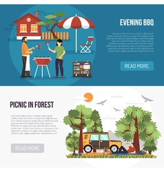 Barbecue and picnic banners vector