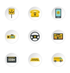 Taxi ride icons set flat style vector