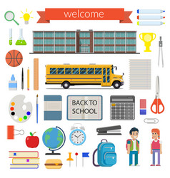 School student stationery supplies set vector