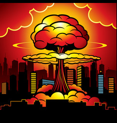 Burning city with nuclear explosion of atomic bomb vector