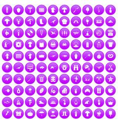 100 hobby icons set purple vector