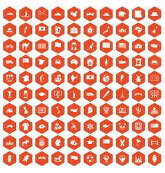 100 geography icons hexagon orange vector