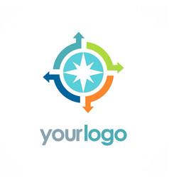 Circle arrow compass logo vector
