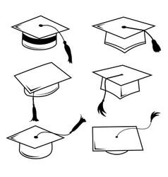 congratulations hat graduation line icon vector image