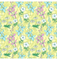 Yellow wild flowers seamless pattern vector