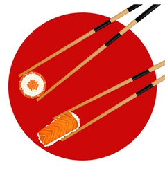 Sushi roll red caviar and shrimp in chopsticks vector