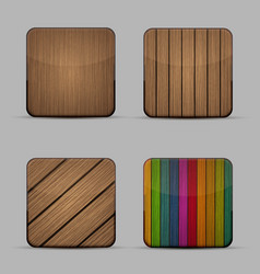 Modern wooden icons set on gray background vector