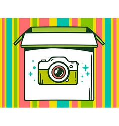 Open box with icon of photo camera on co vector