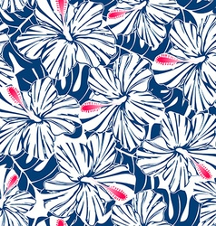 Blue tropical hibiscus and palm seamless pattern vector