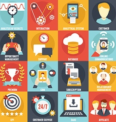 Set of customer relationship management icons vector