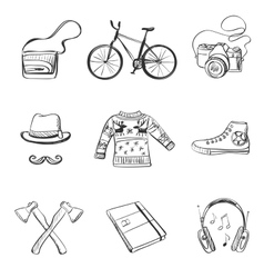 Hand-drawn hipster style icon set vector