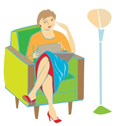Woman reading on armchair vector