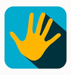 Orange palm hand icon in blue rounded square vector