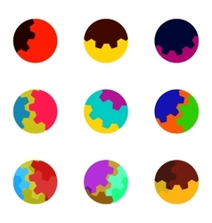 Colorful abstract gears logo set vector