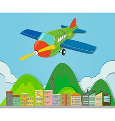 Airplane flying over a town vector