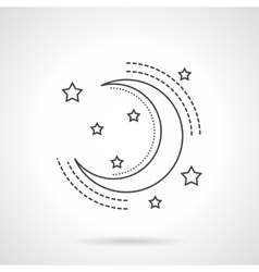 Moon and stars flat line icon vector