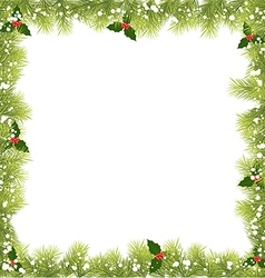 Christmas fir tree branch frame vector
